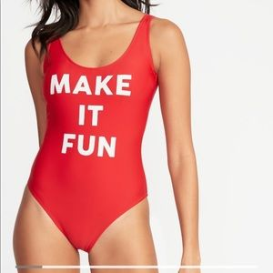 """Old Navy Red """"Make it Fun"""" swimsuit size XXL"""